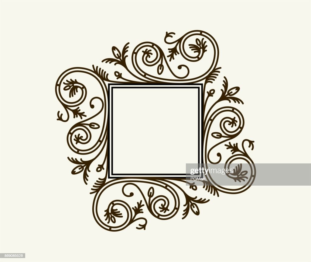 Vector vintage border frame engraving with retro ornament pattern in antique rococo style decorative design.
