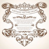 Vector vintage border frame with retro ornament.