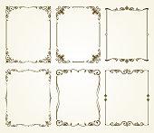 Vector vintage calligraphic frames set