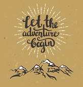 Vector vintage card with mountains, sunburst and inspirational phrase.