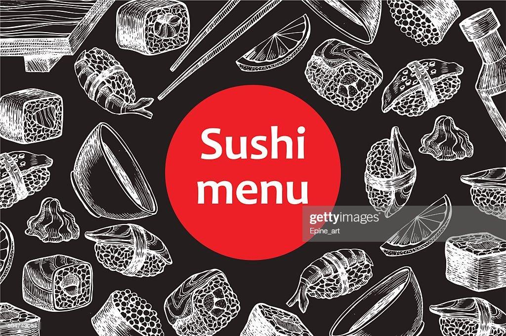Vector vintage chalkboard sushi restaurant menu illustration.