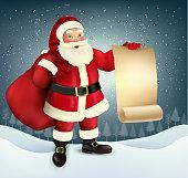 Vector vintage Christmas greeting card with Santa Claus