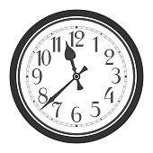 Vector vintage classic black and white round wall clock isolated on white background