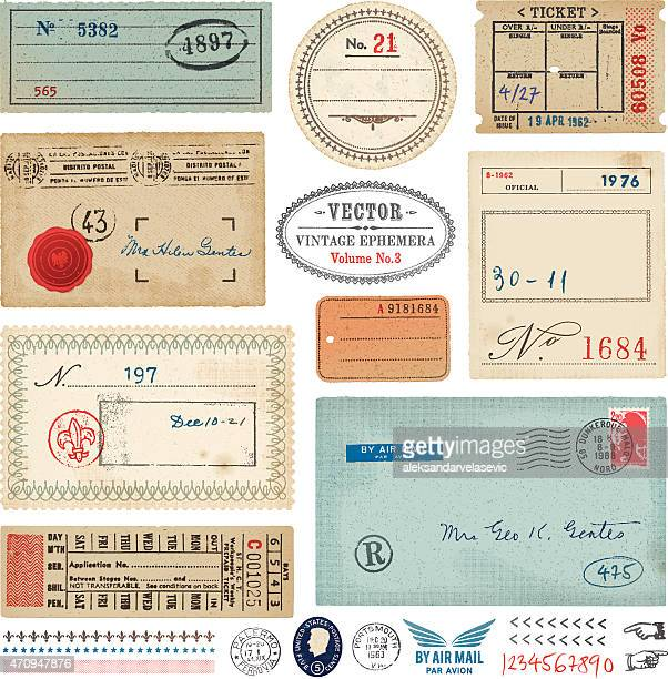 vector vintage ephemera - travel tag stock illustrations, clip art, cartoons, & icons