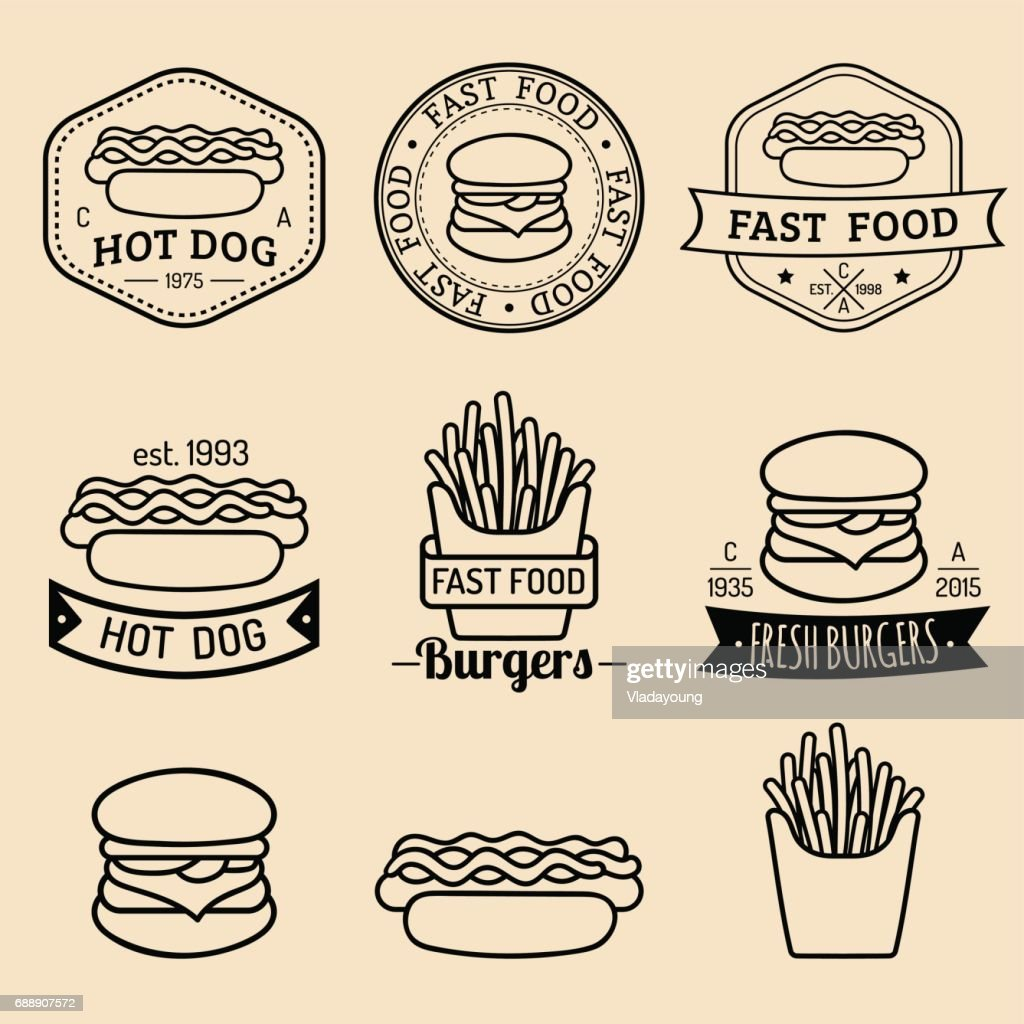 Vector Vintage Fast Food Icons Set. Retro Eating Signs Collection. Bistro,  Snack Bar