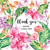 Vector vintage floral tropical Thank You card