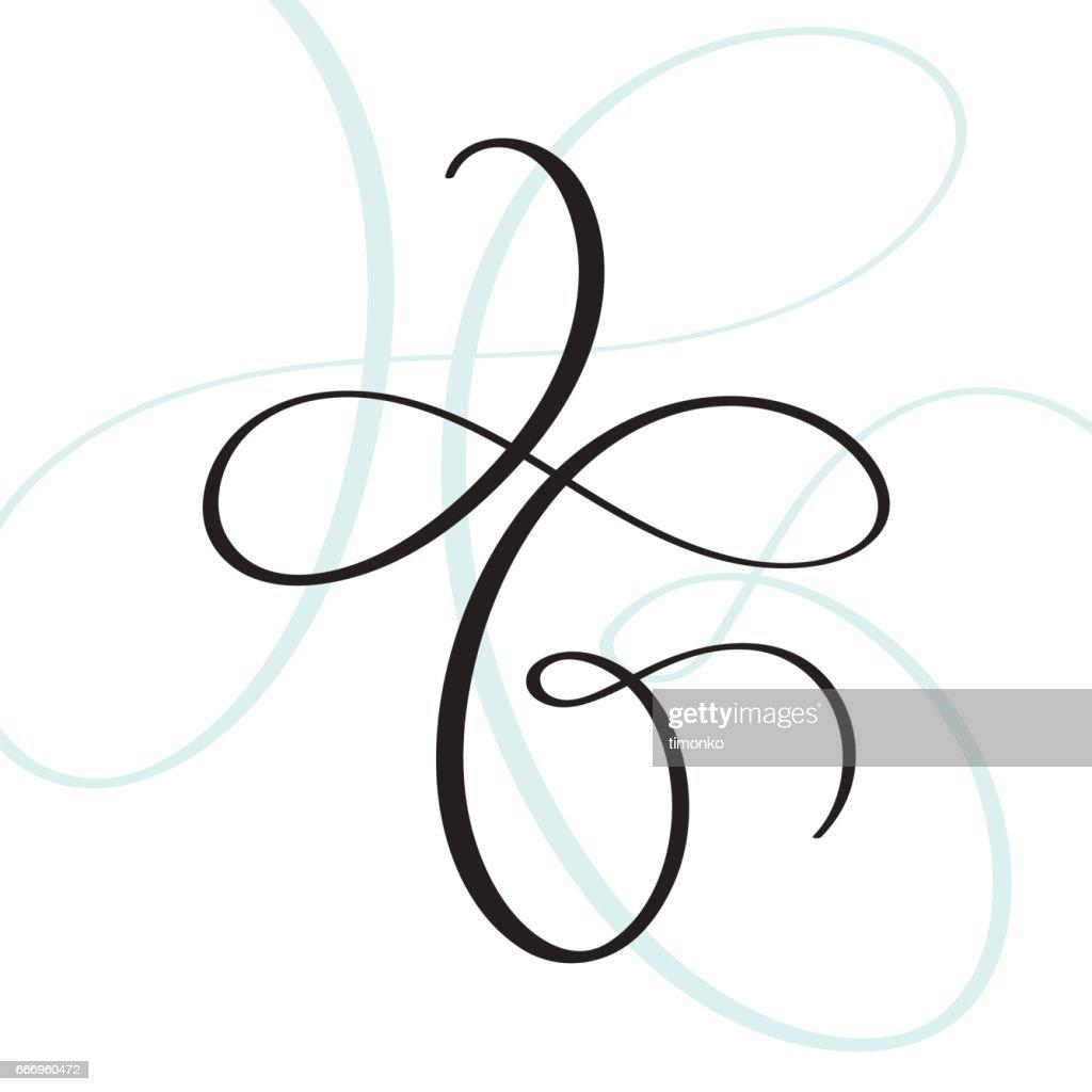 vector vintage flourish for text or design element. Calligraphy illustration EPS 10