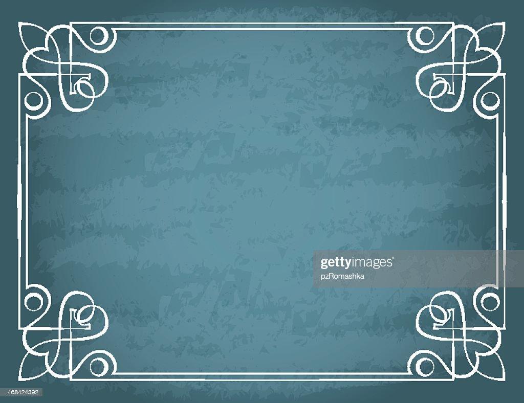 Vector vintage frame on a blue background