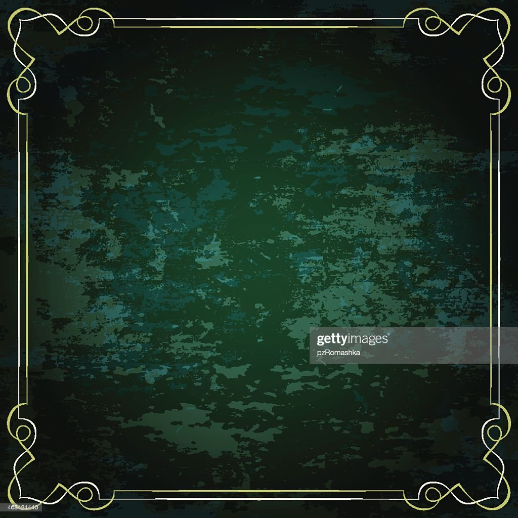 Vector vintage frame on a green background