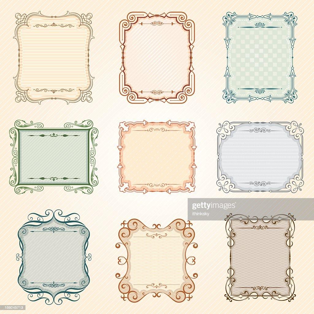 Vector vintage frame set