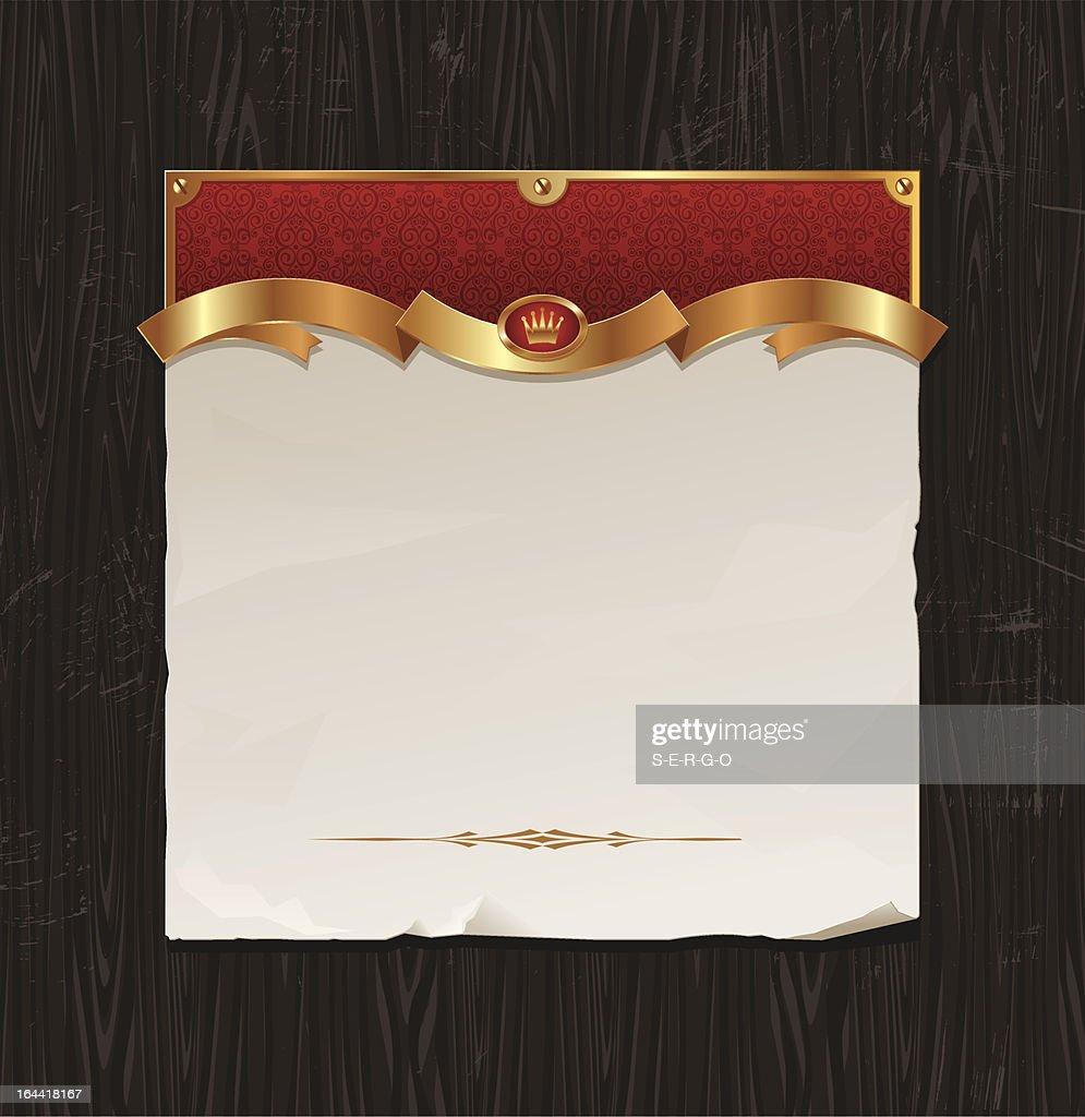 Vector vintage golden frame with paper banner