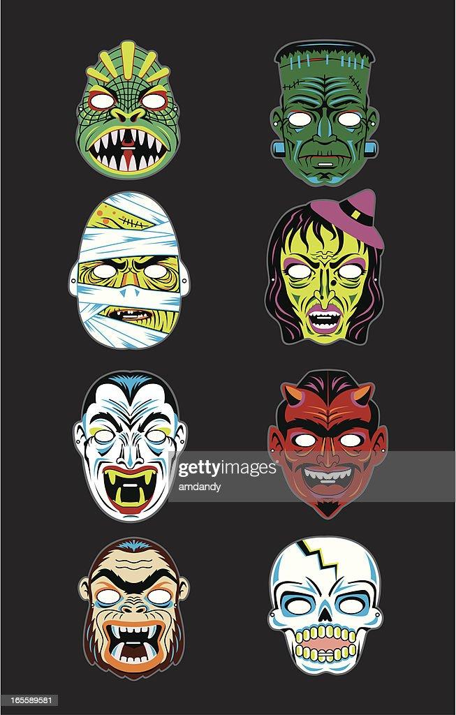 Vector Vintage Halloween Masks : Stock Illustration