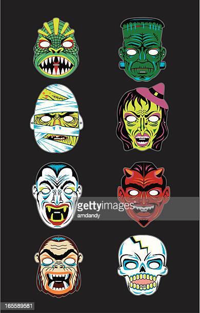 vector vintage halloween masks - sneering stock illustrations, clip art, cartoons, & icons
