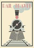 Vector vintage Illustration Of Steam Locomotive - Rail Travel.