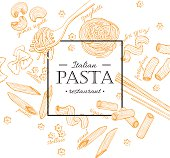 Vector vintage italian pasta restaurant illustration. Hand drawn