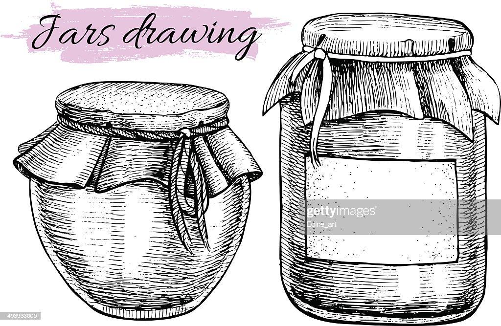 Vector vintage jar set. Hand drawn illustrations.