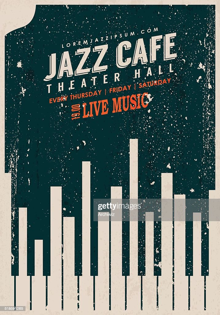 Vector Vintage Jazz music poster template.