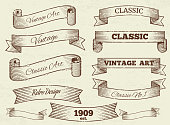 Vector vintage labels and banners collection
