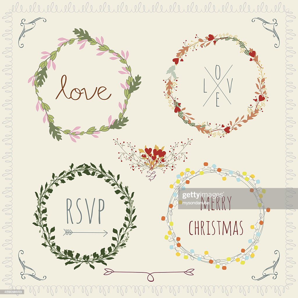 vector vintage laurel wreaths design elements