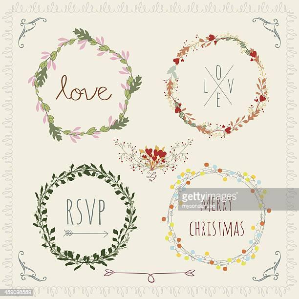 laurel wreaths Vektor-vintage-design-Elemente