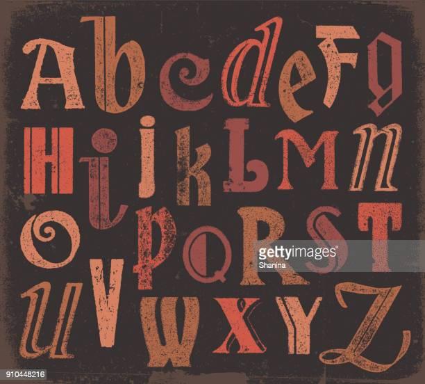vector vintage buchstaben - abc stock-grafiken, -clipart, -cartoons und -symbole