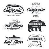 Vector vintage monochrome California badges.
