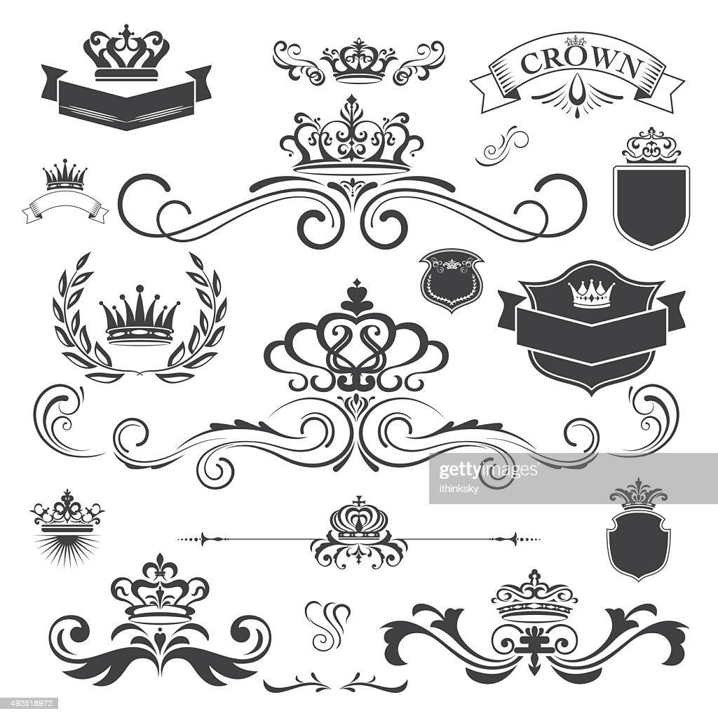 Vector vintage ornament with crown design element : stock illustration