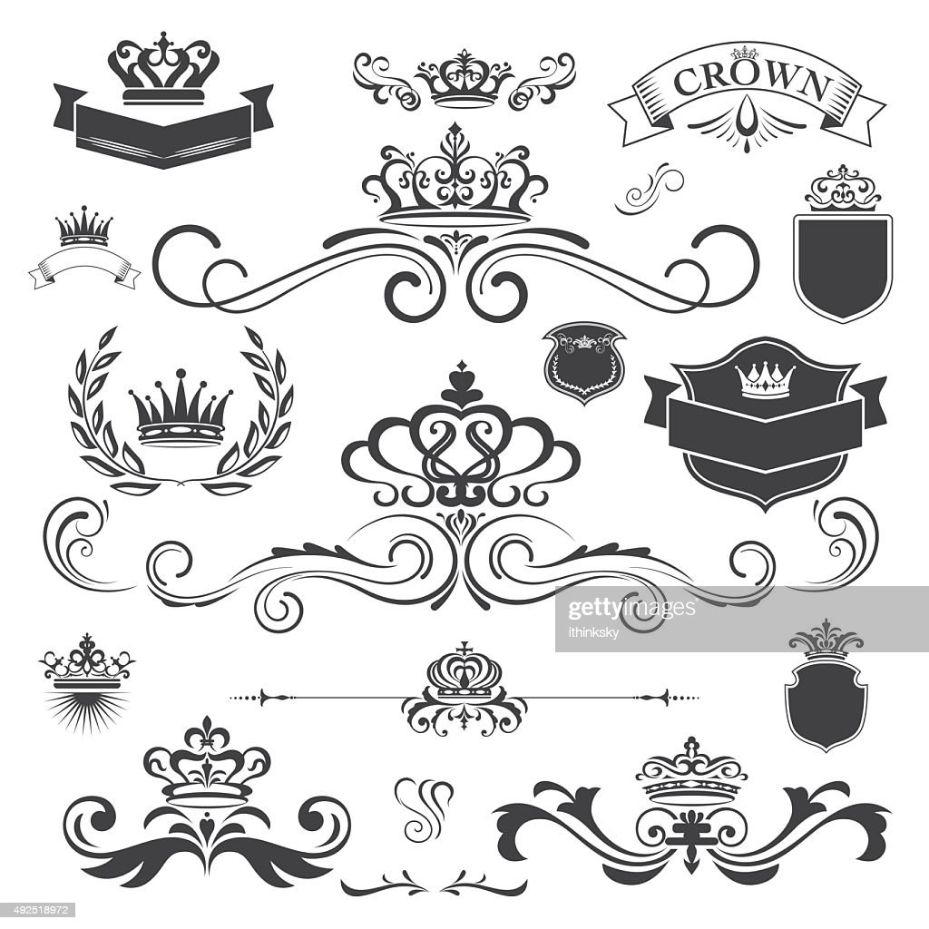 Vector vintage ornament with crown design element