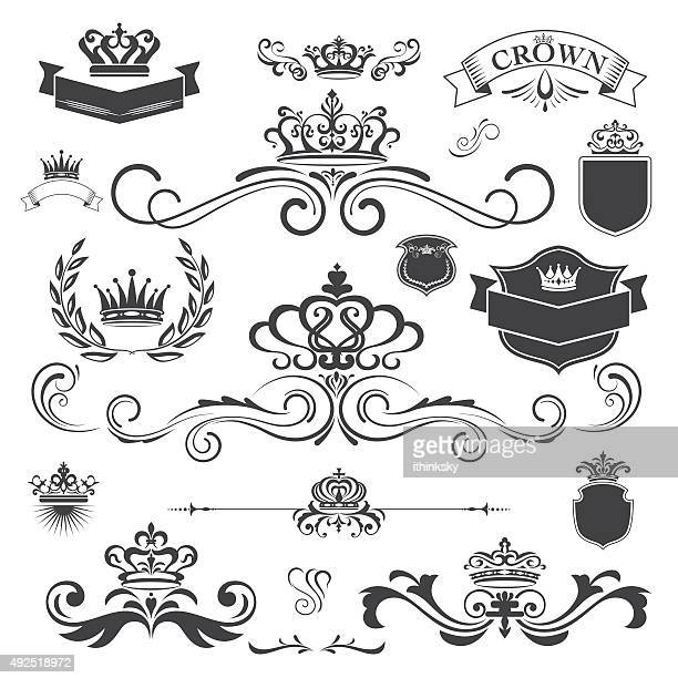 stockillustraties, clipart, cartoons en iconen met vector vintage ornament with crown design element - koningschap