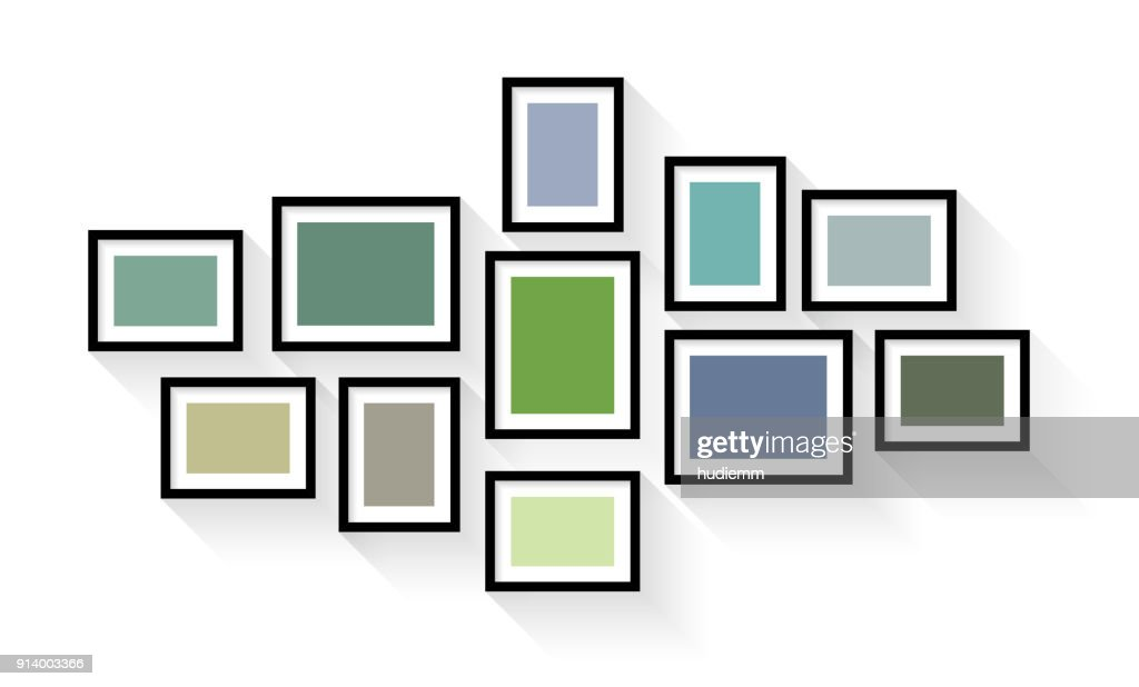 Vector vintage picture frame set isolated on white background : stock illustration