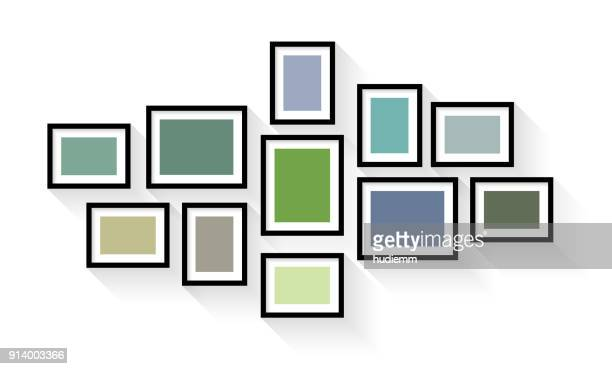 Vector vintage picture frame set isolated on white background