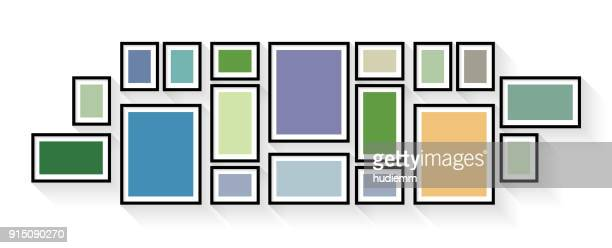 vector vintage picture frame set isolated on white background - panoramic stock illustrations, clip art, cartoons, & icons