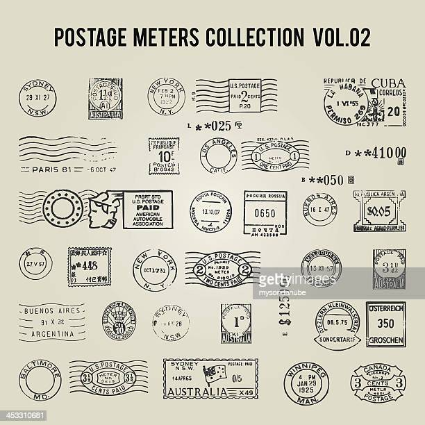 vector vintage postage meters - travel tag stock illustrations, clip art, cartoons, & icons
