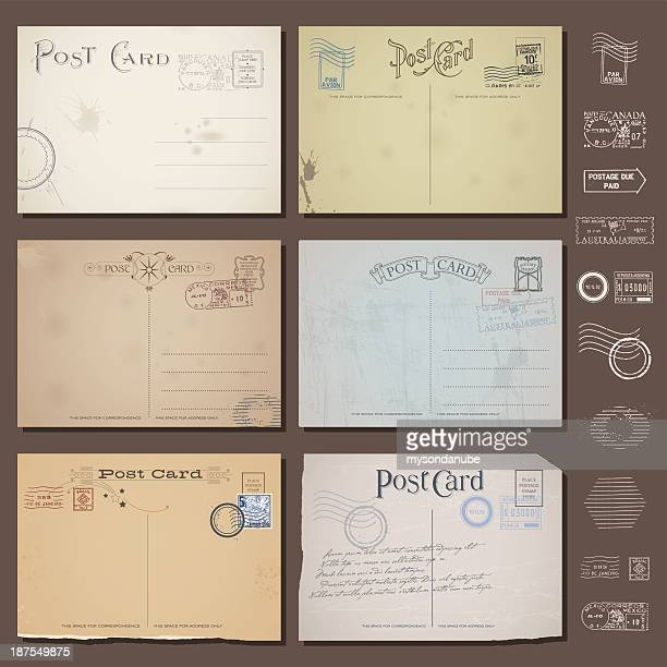 vector vintage postcard designs with stamps - postcard stock illustrations, clip art, cartoons, & icons