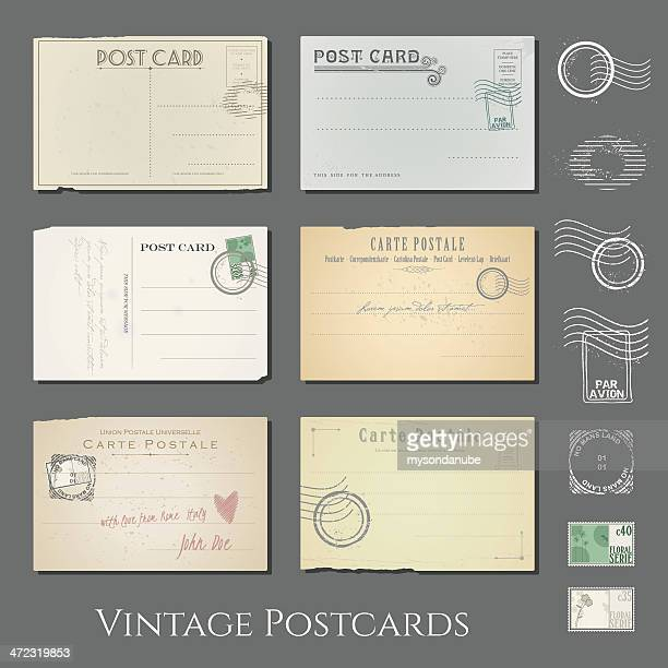 vector vintage postcards collection - postcard stock illustrations, clip art, cartoons, & icons