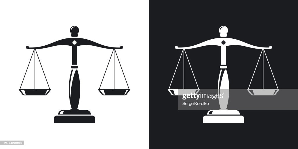 Vector vintage scales of justice icon. Two-tone version