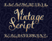 Vector vintage script font with extruded volume effect