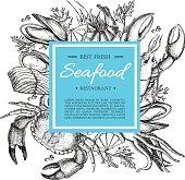 Vector vintage seafood restaurant illustration. Hand drawn banner.
