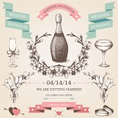 Vector vintage set of  wedding elements and hand drawn illustrations.