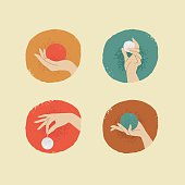 vector vintage style woman hands with balls
