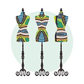 Vector vintage tailor's dummy set with decorative ethnic ortament