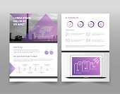 Vector violet and white minimalistic business brochure template with timeline, graphs and charts
