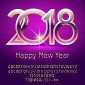 Vector violet chic Happy New Year 2018 greeting with Alphabet