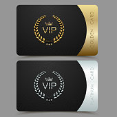 Vector VIP golden and platinum card. Black geometric pattern background with crown laurel wreath. Luxury design for vip member