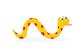 Vector viper smile cartoon character. Cute illustration of reptile for child book.