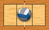 Vector Volleyball and Court Background Illustration