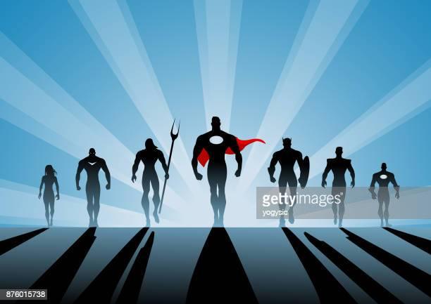 stockillustraties, clipart, cartoons en iconen met vector wandelen superheld team silhouet met man leider - aanvoerder