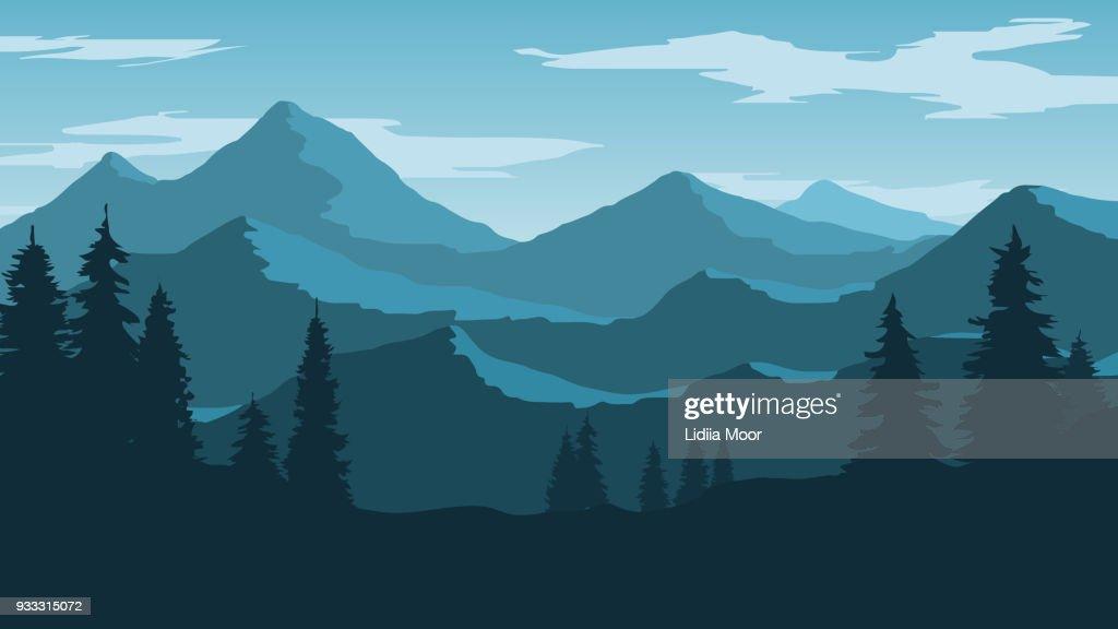 Vector wallpaper with a landscape, a mountain range