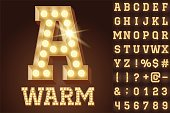 Vector warm white light up lamp alphabet in hard font