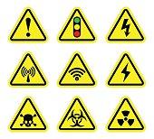 Vector warning , signal symbol and radiation sign set